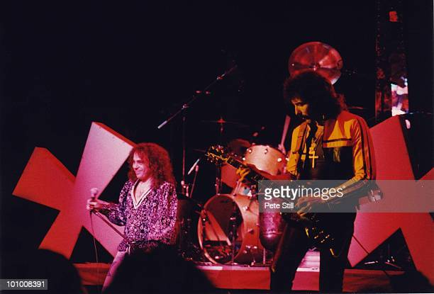Ronnie James Dio and Tony Iommi of Black Sabbath perform on stage on the 'Heaven and Hell' tour at Hammersmith Odeon on January 18th 1981 in London...