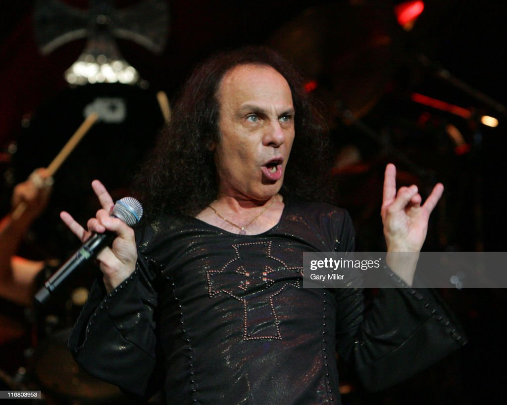 Ronnie James Dio of Heaven and Hell during Heaven and Hell Tour 2007 at the Verizon Wireless Amphitheater in San Antonio - May 1, 2007 at Verizon Wireless Amphitheater in San Antonio, Texas, United States.