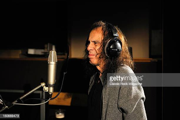 Ronnie James Dio of Heaven and Hell recording at the Rockfield Studios on July 25, 2007 in Monmouth.