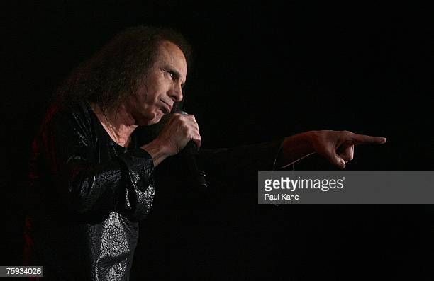 Ronnie James Dio performs on stage with Heaven and Hell during their Heaven and Hell 2007 tour at Challenge Stadium August 2 2007 in Perth Australia...