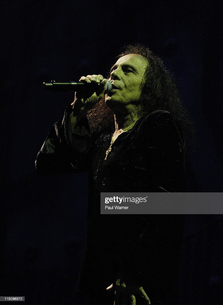 Ronnie James Dio, singer of Heaven and Hell, performs with the band during the 2008 Masters of Metal Tour at the First Midwest Bank Amphitheater on August 19, 2008 in Tinley Park, Illinois.