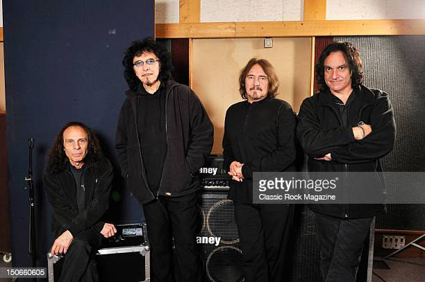 Ronnie James Dio, Tony Iommi, Geezer Butler and Vinny Appice of Heaven and Hell at the Rockfield Studios on July 25, 2007 in Monmouth.