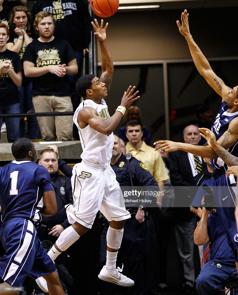 Ronnie Johnson #3 of the Purdue Boilermakers shoots the ball against the Penn State Nittany Lions at Mackey Arena on January 13, 2013 in West Lafayette, Indiana. Purdue defeated Penn State 60-42.