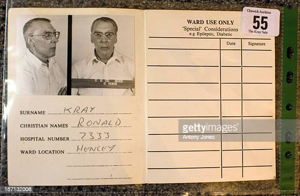 Ronnie Kray Patient Identification Visiting Card Is Displayed As Personal Belongings Of The Notorious East End Brothers The Krays Go On Sale At...