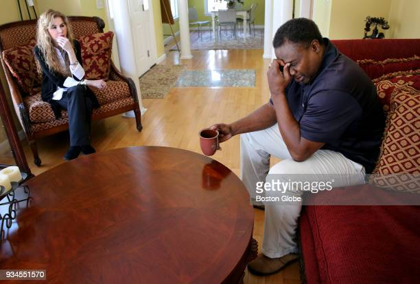 Ronnie Lippett right talks about his struggles with his navigator Jacqueline McLean at his home in South Easton MA on March 14 2018 McLean is the...