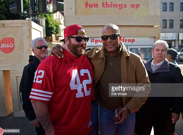 Ronnie Lott participates in the filming of a post-Super Bowl commercial for Jello pudding.
