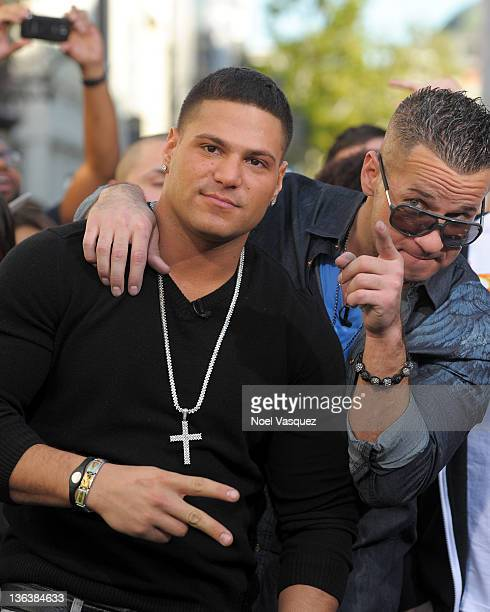 Ronnie Magro and Mike 'The Situation' Sorrentino visit Extra at The Grove on January 3 2012 in Los Angeles California
