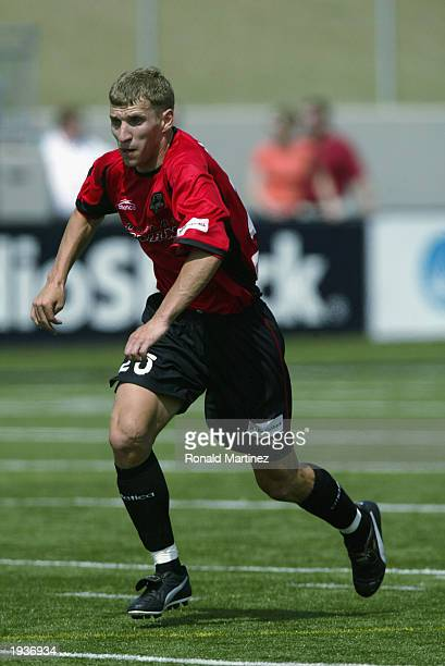 Ronnie O'Brien of the Dallas Burn runs against the Los Angeles Galaxy during the MLS match at Dragon Stadium on April 12, 2003 in Southlake, Texas....