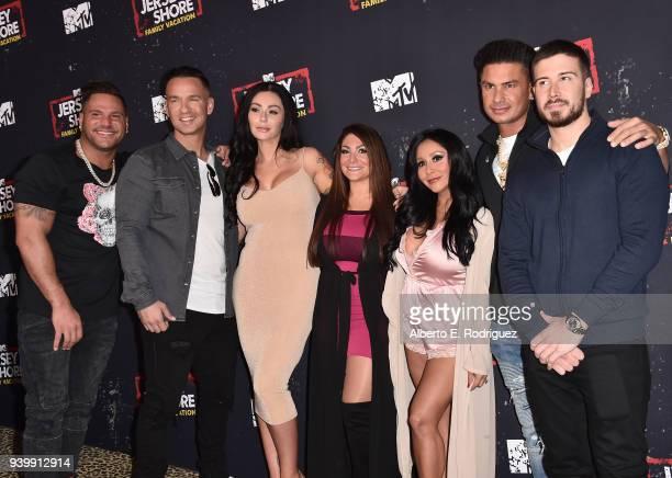 Ronnie Ortiz-Magro, Mike Sorrentino, Jenni Farley, Deena Cortese, Nicole Polizzi, Pauly DelVecchio and Vinny Guadagnino attend the Premiere of MTV...