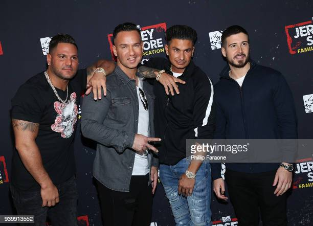 "Ronnie Ortiz-Magro, Mike 'The Situation' Sorrentino, Paul 'Pauly D' DelVecchio, and Vinny Guadagnino attend the ""Jersey Shore Family Vacation"" Global..."