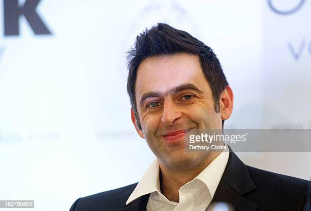 Ronnie O'Sullivan attends a press conference at Hilton London Metropole on February 26 2013 in London England Reigning World Snooker Champion Ronnie...