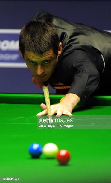 Ronnie O'Sullivan in action against Stuart Bingham during the Betfredcom World Snooker Championship at The Crucible Theatre Sheffield