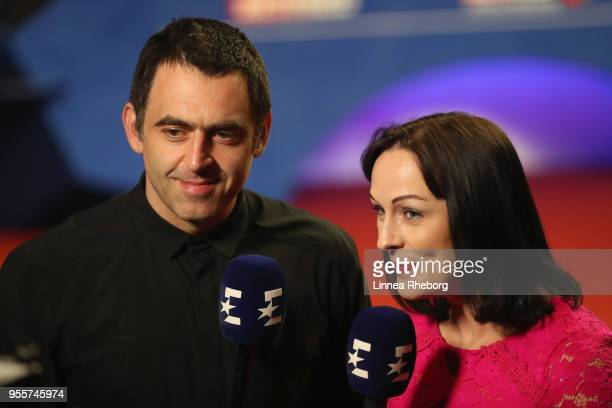 Ronnie O'Sullivan is being inerviewed by Rachel Casey and Eurosport ahead of the fourth session of the final between Mark Williams of Wales and John...