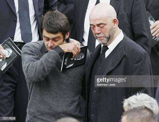 Ronnie O'Sullivan leaves the funeral of Paul Hunter at Leeds Parish Church on October 19, 2006 in Leeds, England. The three-time Masters champion...