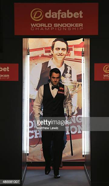 Ronnie O'Sullivan of England enters the Crucible ahead of his match against Robin Hull of Finland during day one of the The Dafabet World Snooker...