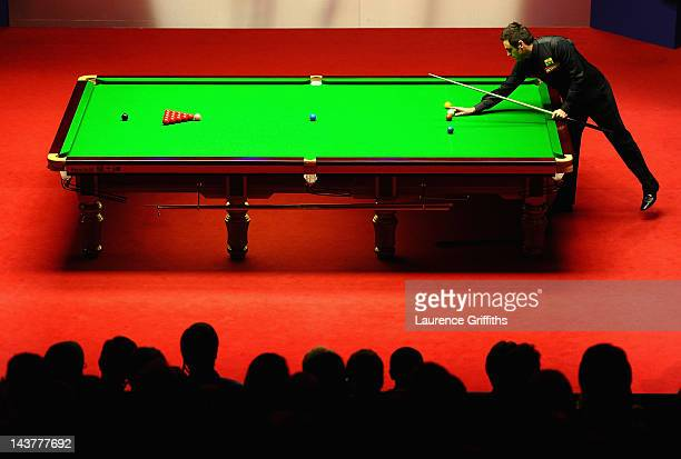 Ronnie O'Sullivan of England in action against Matthew Stevens of Wales during the Betfred.com World Snooker Championship Semi Final match at...