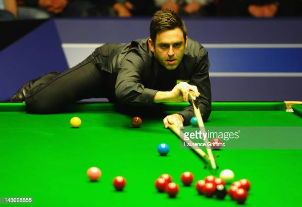 Ronnie O'Sullivan of England in action during his Betfredcom World Snooker Championship Quarter Final match against Neil Robertson of Australia at...
