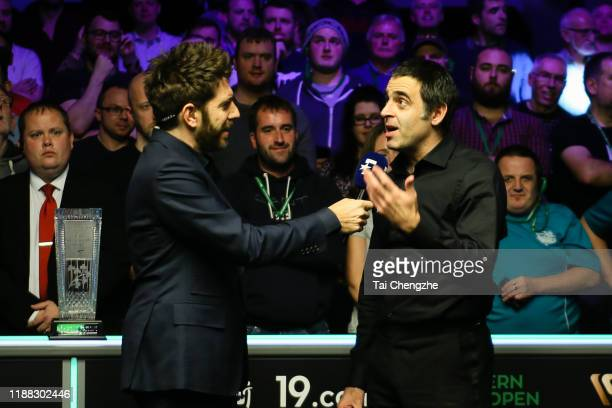 Ronnie O'Sullivan of England is interviewed after the final match against Judd Trump of England on day seven of 2019 Northern Ireland Open at...