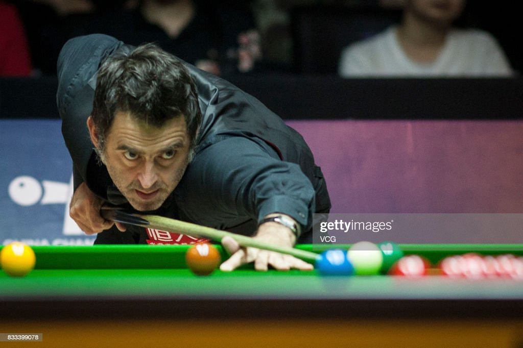 Ronnie O'Sullivan of England plays a shot during his first round match against Sam Baird of England on day two of Evergrande 2017 World Snooker China Champion at Guangzhou Sport University on August 17, 2017 in Guangzhou, Guangdong Province of China.