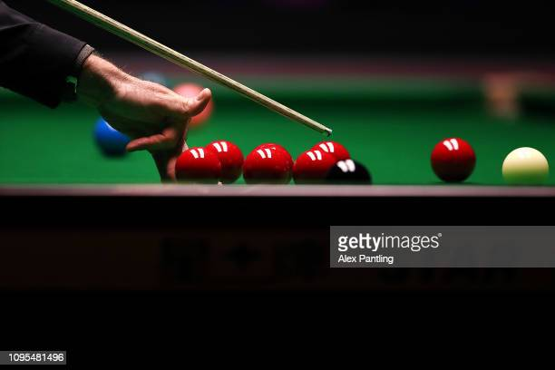 Ronnie O'Sullivan of England plays a shot during his quarter-final match against Ryan Day of Wales on day five of the 2019 Dafabet Masters at...