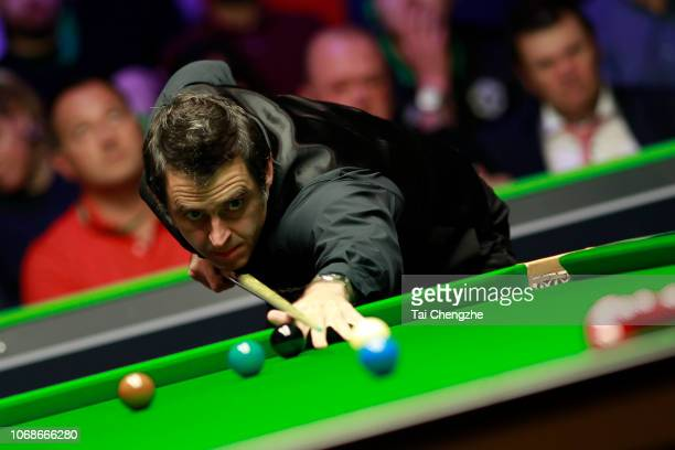 Ronnie O'Sullivan of England plays a shot during the quarterfinal match against David Gilbert of England on day six of 2018 BetVictor Northern...