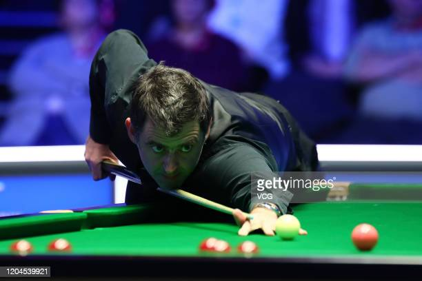 Ronnie O'Sullivan of England plays a shot during the quarter-final match against Graeme Dott of Scotland on day four of 2020 Coral World Grand Prix...