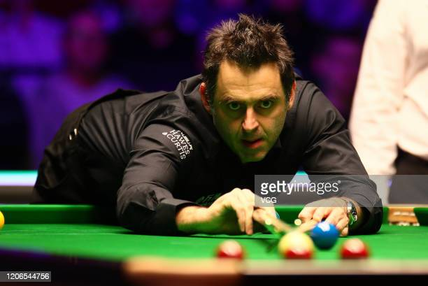 Ronnie O'Sullivan of England plays a shot during the semi-final match against Kyren Wilson of England on day six of the 2020 ManBetX Welsh Open at...