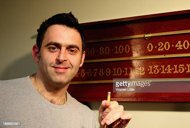 Ronnie O'Sullivan of England poses for a picture during a media launch for the 2013 Betfair World Snooker Championship at The Groucho Club on April...