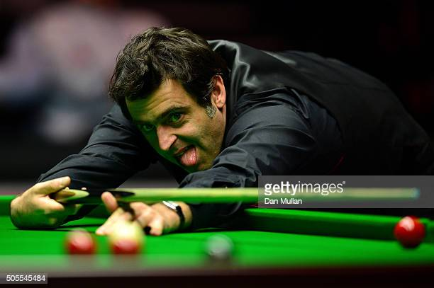 Ronnie O'Sullivan of England reacts after missing a shot during his quarter final match against Mark Selby of England during day five of The Dafabet...