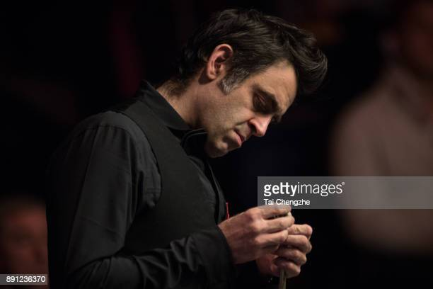 Ronnie O'Sullivan of England reacts during his first round match against Michael Georgiou of Cyprus on day two of the 2017 Scottish Open at Emirates...
