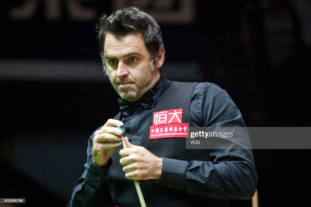 Ronnie O'Sullivan of England reacts during his first round match against Sam Baird of England on day two of Evergrande 2017 World Snooker China Champion at Guangzhou Sport University on August 17, 2017 in Guangzhou, Guangdong Province of China.