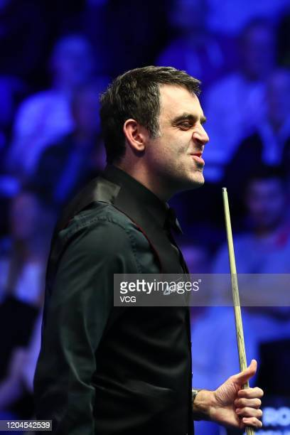 Ronnie O'Sullivan of England reacts during the quarter-final match against Graeme Dott of Scotland on day four of 2020 Coral World Grand Prix at the...