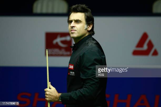 Ronnie O'Sullivan of England reacts in the final match against Shaun Murphy of England on day 7 of World Snooker Shanghai Masters 2019 at Regal...