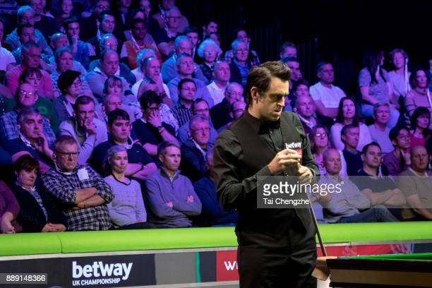 Ronnie O'Sullivan of England reacts in the semifinal match against Stephen Maguire of Scotland during 2017 Betway UK Championship at Barbican Centre...