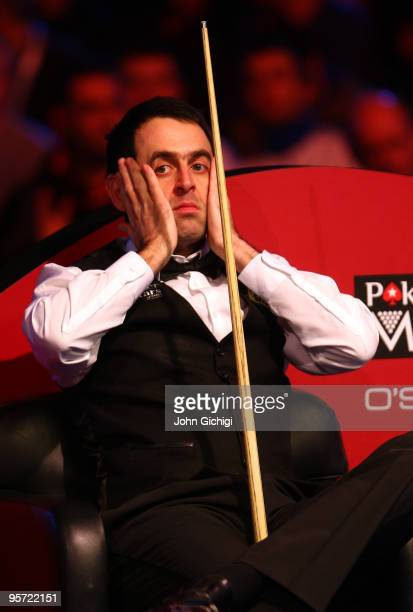 Ronnie O'Sullivan of England shows frustration in his second round match against Neil Robertson of Australia during the PokerStarscom Masters at...