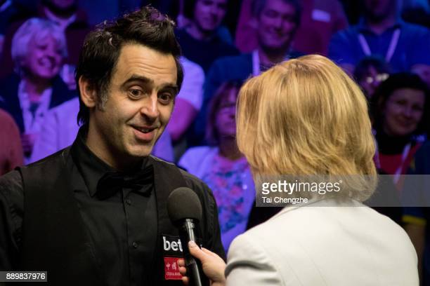 Ronnie O'Sullivan of England speaks after winning the final match against Shaun Murphy of England during the 2017 Betway UK Championship at Barbican...