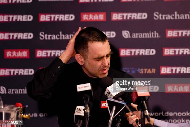 Ronnie O'Sullivan speaks to the media following his defeat against James Cahill in the opening round of the world snooker championship at Crucible...
