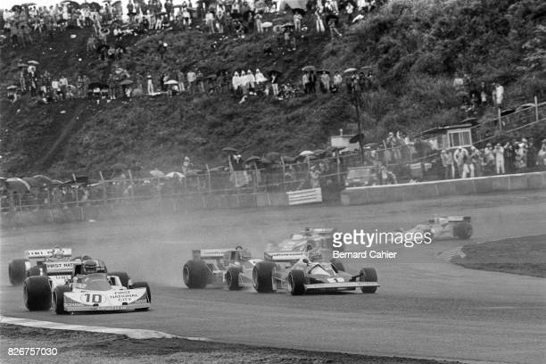Ronnie Peterson Niki Lauda Ferrari 312T2 MarchFord 761 Grand Prix of Japan Fuji Speedway 24 October 1976 In rain and fog conditions Niki Lauda...