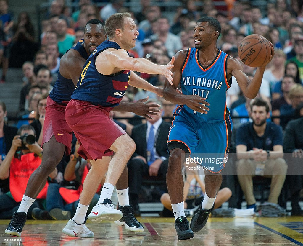 Ronnie Price, #14 of Oklahoma City Thunder in action during the NBA Global Games Spain 2016 FC Barcelona Lassa v Oklahoma City Thunder at Palau Sant Jordi on October 5, 2016 in Barcelona, Spain.