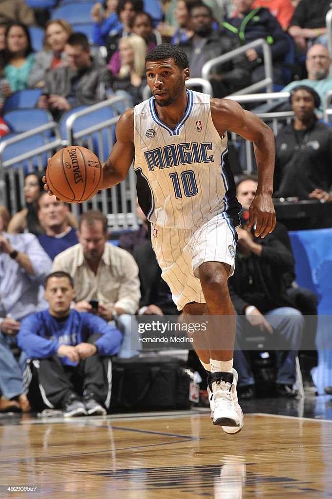 Ronnie Price #10 of the Orlando Magic dribbles up the court against the Chicago Bulls Bulls during the game on January 15, 2014 at Amway Center in Orlando, Florida.