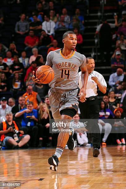 Ronnie Price of the Phoenix Suns brings the ball up court against the Brooklyn Nets on February 25 2016 at Talking Stick Resort Arena in Phoenix...