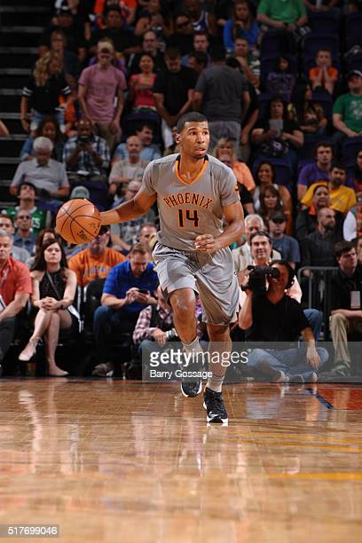 Ronnie Price of the Phoenix Suns brings the ball up court against the Boston Celtics on March 26 2016 at Talking Stick Resort Arena in Phoenix...