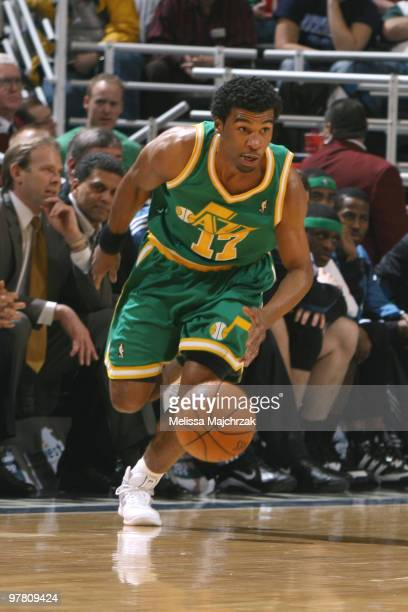 Ronnie Price of the Utah Jazz drives the ball down the court against the Minnesota Timberwolves at EnergySolutions Arena on March 17 2010 in Salt...