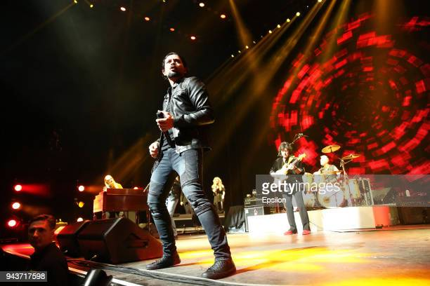 Ronnie Romero and Ritchie Blackmore of Rainbow perform at SC Olympic on April 8 2018 in Moscow Russia