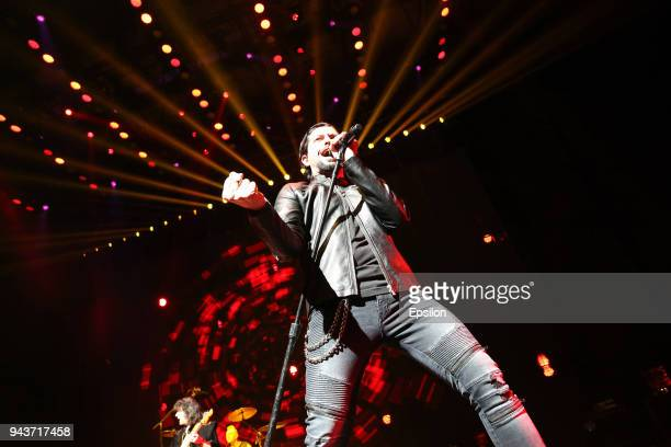 Ronnie Romero of Rainbow performs at SC Olympic on April 8 2018 in Moscow Russia