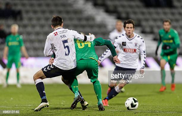 Ronnie Schwartz of Brondby IF and Alexander Juel Andersen of AGF compete for the ball during the Danish Alka Superliga match between AGF Aarhus and...