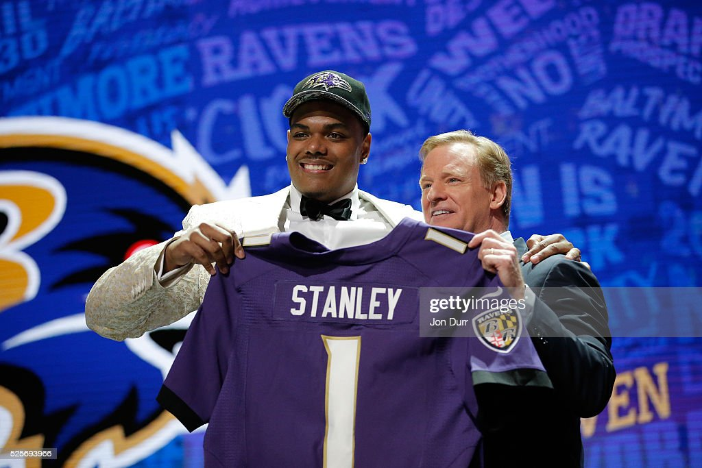 Ronnie Stanley of Notre Dame holds up a jersey with NFL Commissioner Roger Goodell after being picked #6 overall by the Baltimore Ravens during the first round of the 2016 NFL Draft at the Auditorium Theatre of Roosevelt University on April 28, 2016 in Chicago, Illinois.