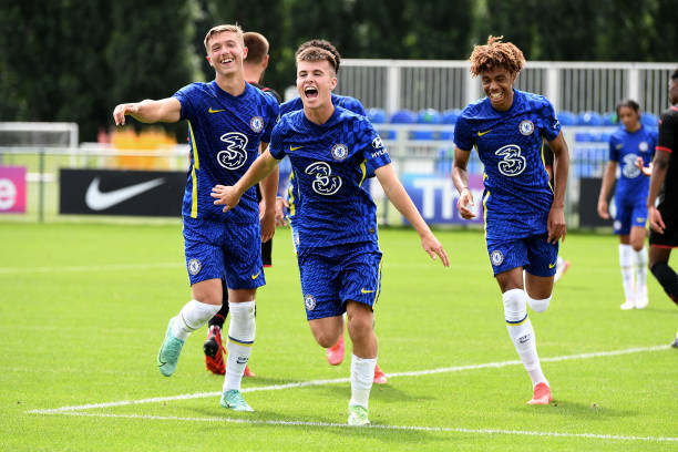 Ronnie Stutter of Chelsea celebrates scoring Chelseas fifth goal during the Chelsea v West Bromwich Albion U18 Premiere League match on August 14th,...