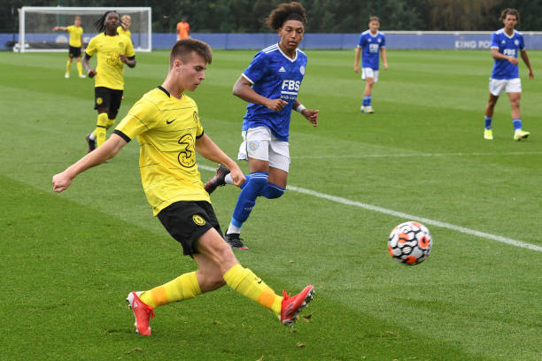 Ronnie Stutter of Chelsea crosses the ball during the Leicester City v Chelsea U18 Premier League match on September 25, 2021 in Loughborough,...