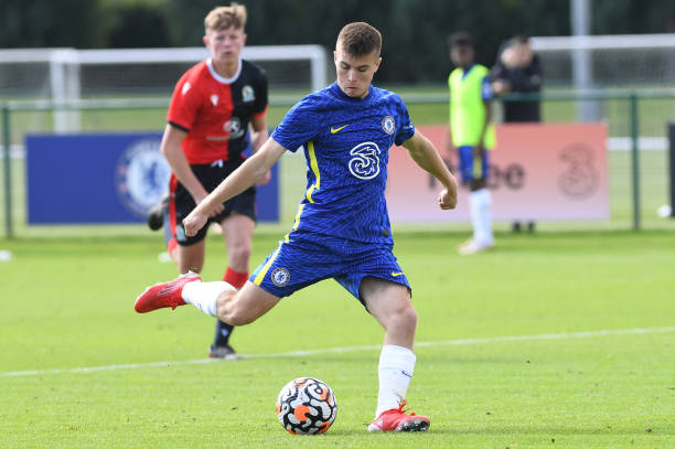 Ronnie Stutter of Chelsea scores Chelseas second goal during the Chelsea v Blackburn Rovers U18 Premier League Cup Group D on September 18, 2021 in...